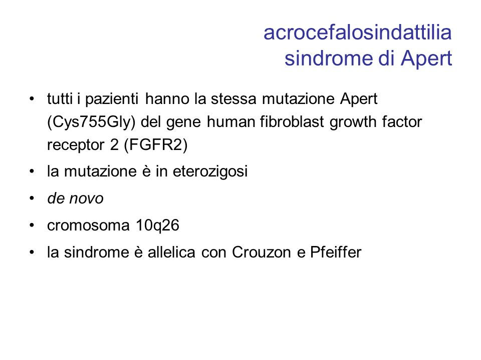 acrocefalosindattilia sindrome di Apert