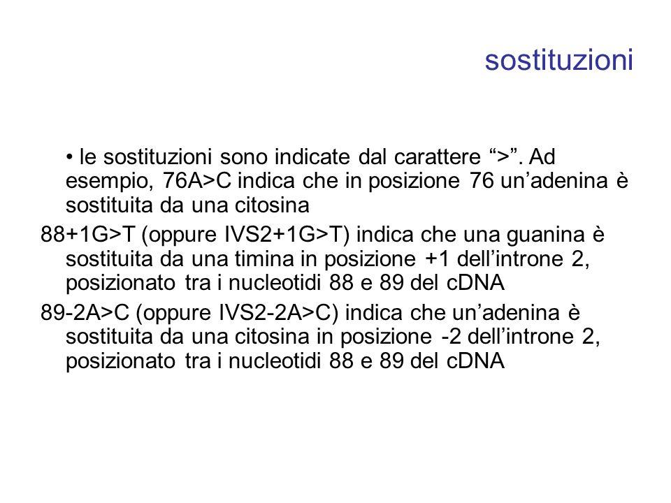 sostituzioni • le sostituzioni sono indicate dal carattere > . Ad esempio, 76A>C indica che in posizione 76 un'adenina è sostituita da una citosina.