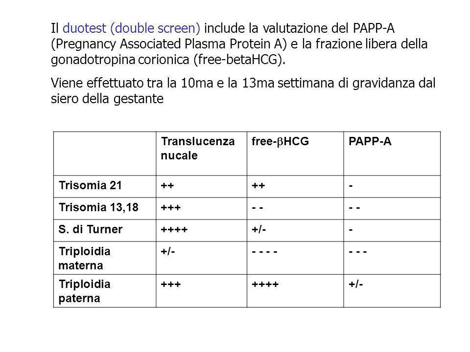 Il duotest (double screen) include la valutazione del PAPP-A (Pregnancy Associated Plasma Protein A) e la frazione libera della gonadotropina corionica (free-betaHCG).