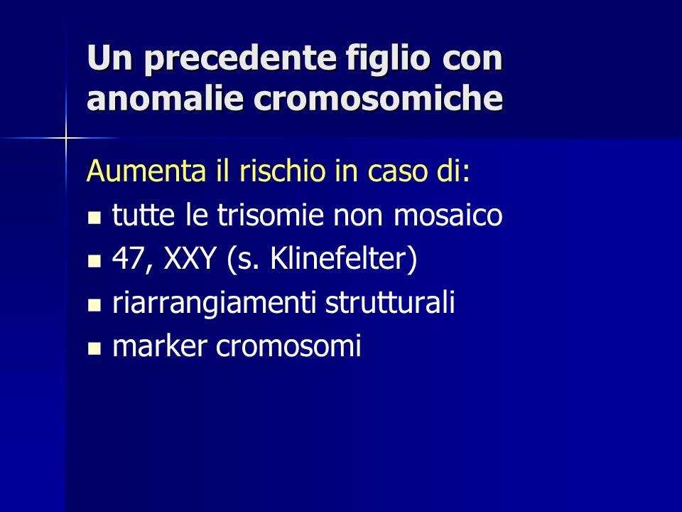 Un precedente figlio con anomalie cromosomiche