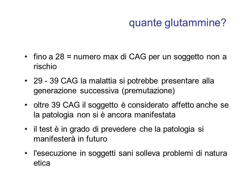 quante glutammine fino a 28 = numero max di CAG per un soggetto non a rischio.
