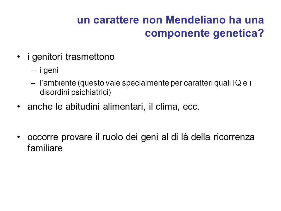 un carattere non Mendeliano ha una componente genetica