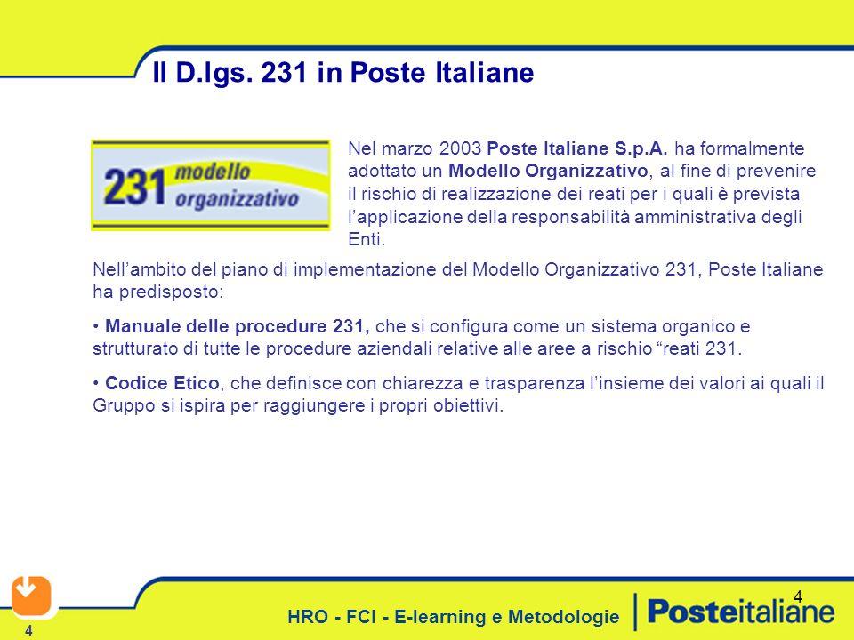 Il D.lgs. 231 in Poste Italiane