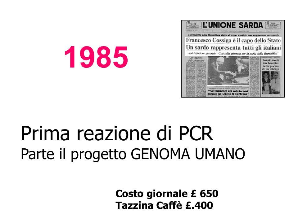 1985 Prima reazione di PCR Parte il progetto GENOMA UMANO