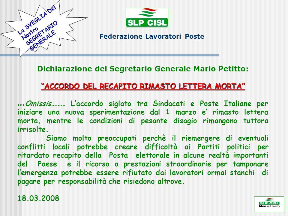 Dichiarazione del Segretario Generale Mario Petitto: