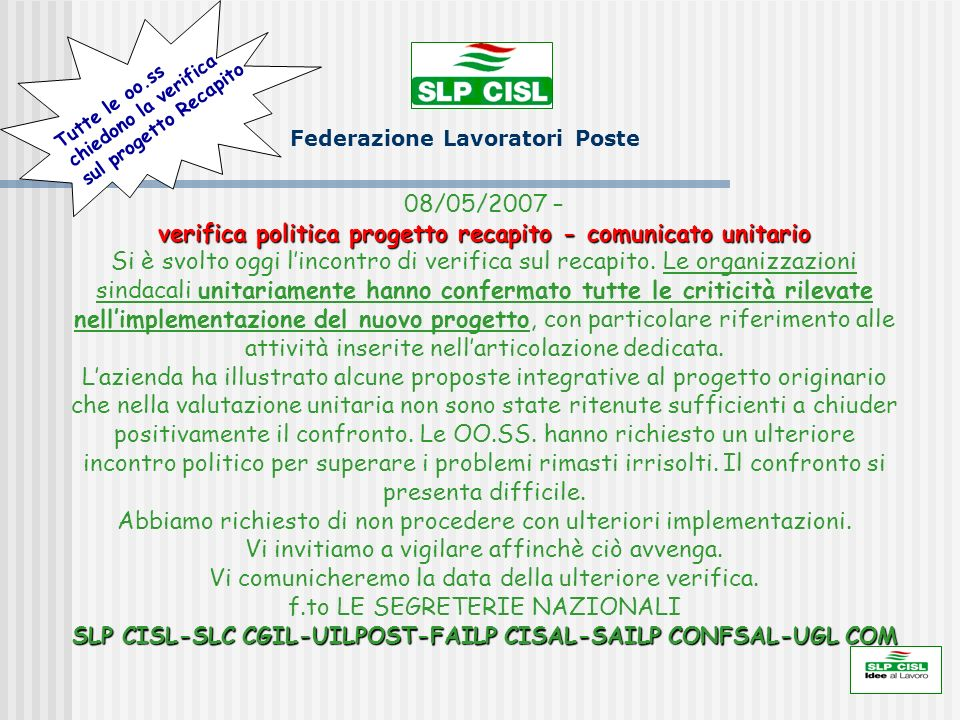 SLP CISL federazione Lavoratori Poste