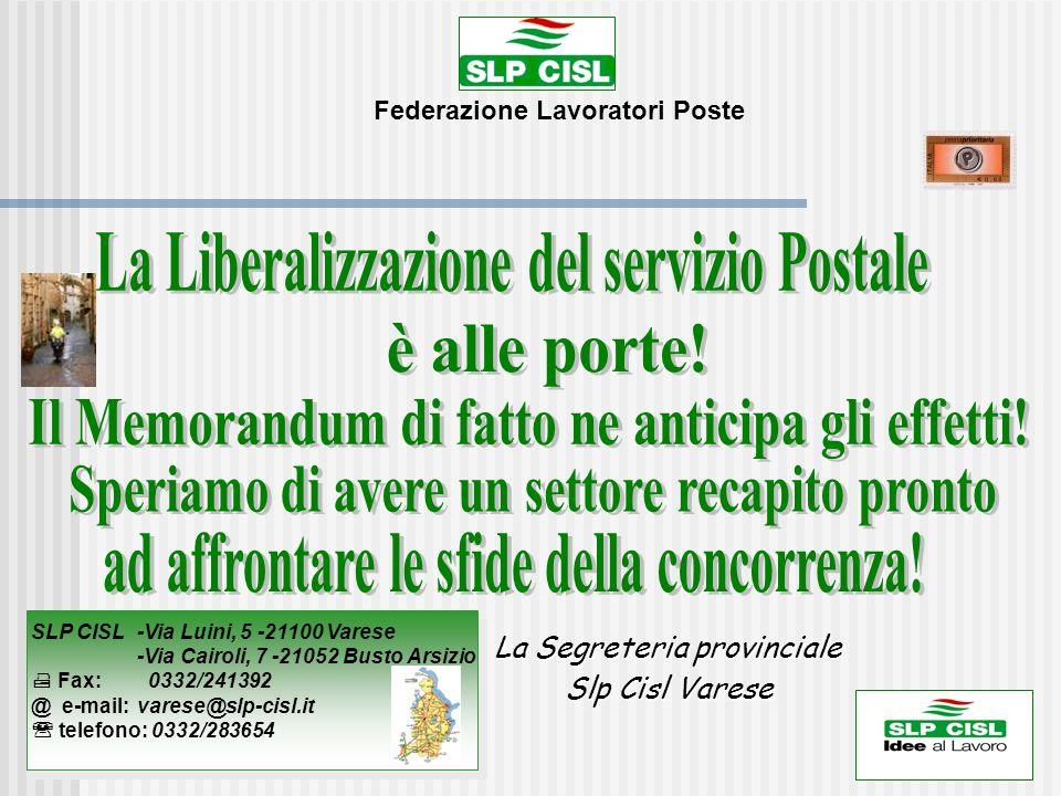 La Liberalizzazione del servizio Postale
