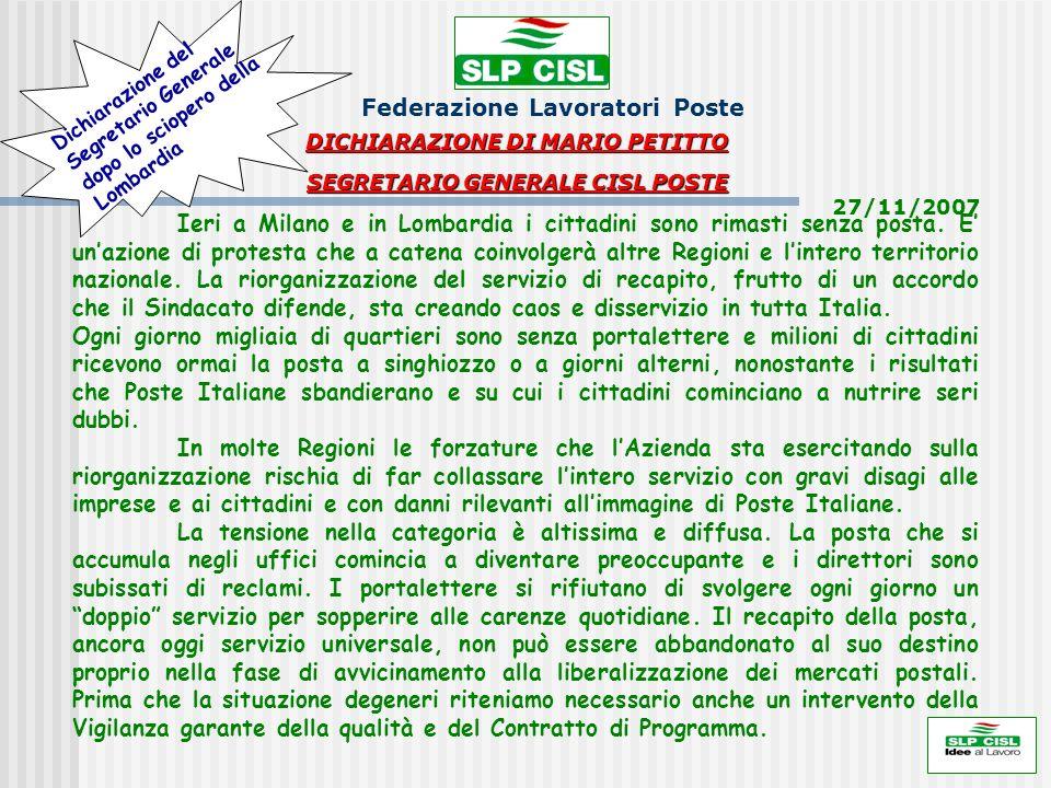DICHIARAZIONE DI MARIO PETITTO SEGRETARIO GENERALE CISL POSTE