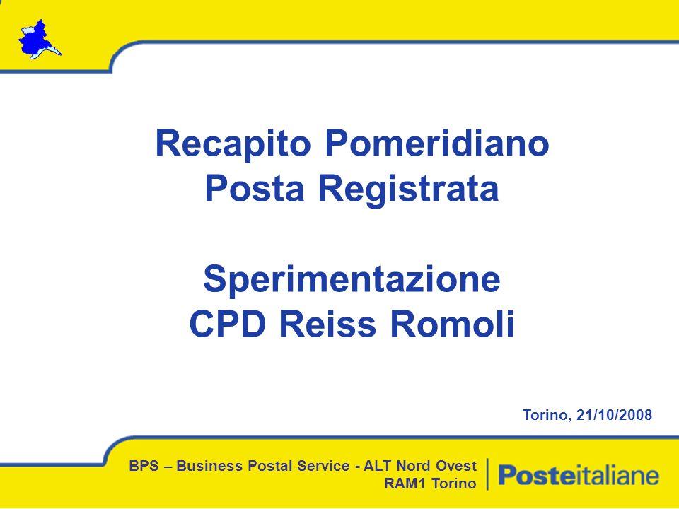Recapito Pomeridiano Posta Registrata Sperimentazione CPD Reiss Romoli