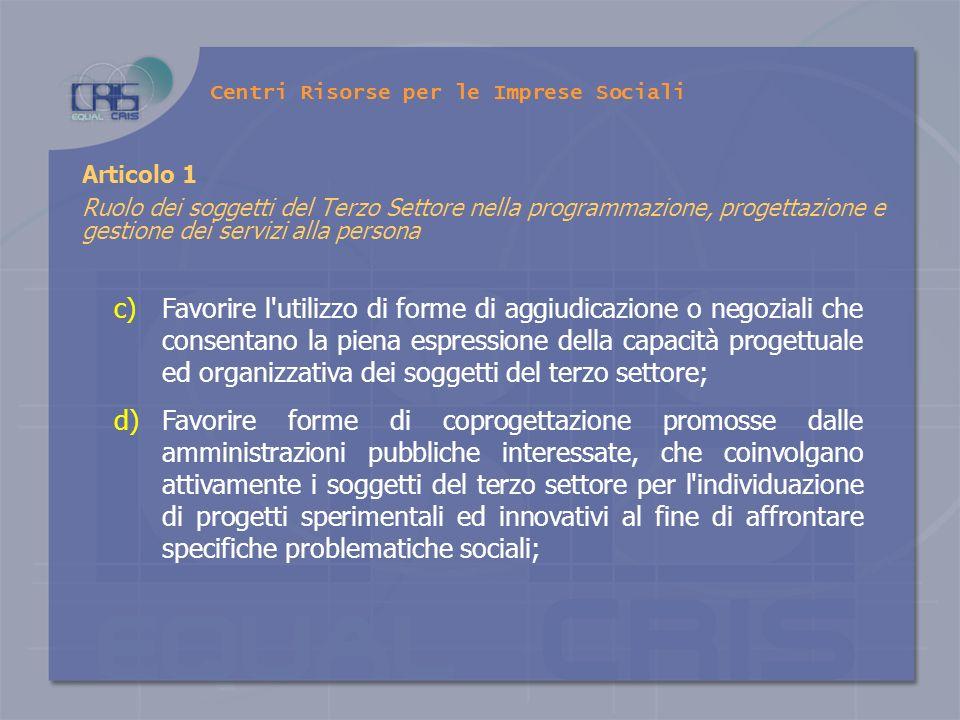 Centri Risorse per le Imprese Sociali