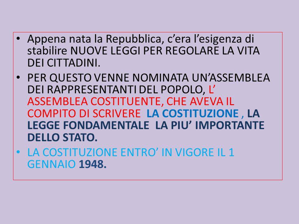 Appena nata la Repubblica, c'era l'esigenza di stabilire NUOVE LEGGI PER REGOLARE LA VITA DEI CITTADINI.