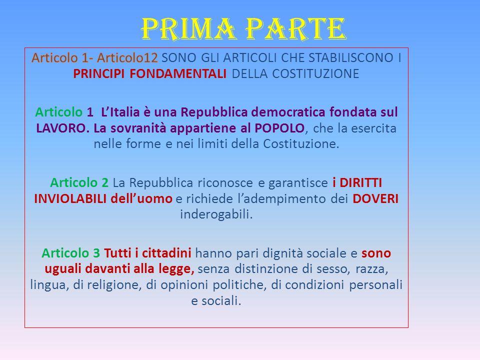 PRIMA PARTE Articolo 1- Articolo12 SONO GLI ARTICOLI CHE STABILISCONO I PRINCIPI FONDAMENTALI DELLA COSTITUZIONE.