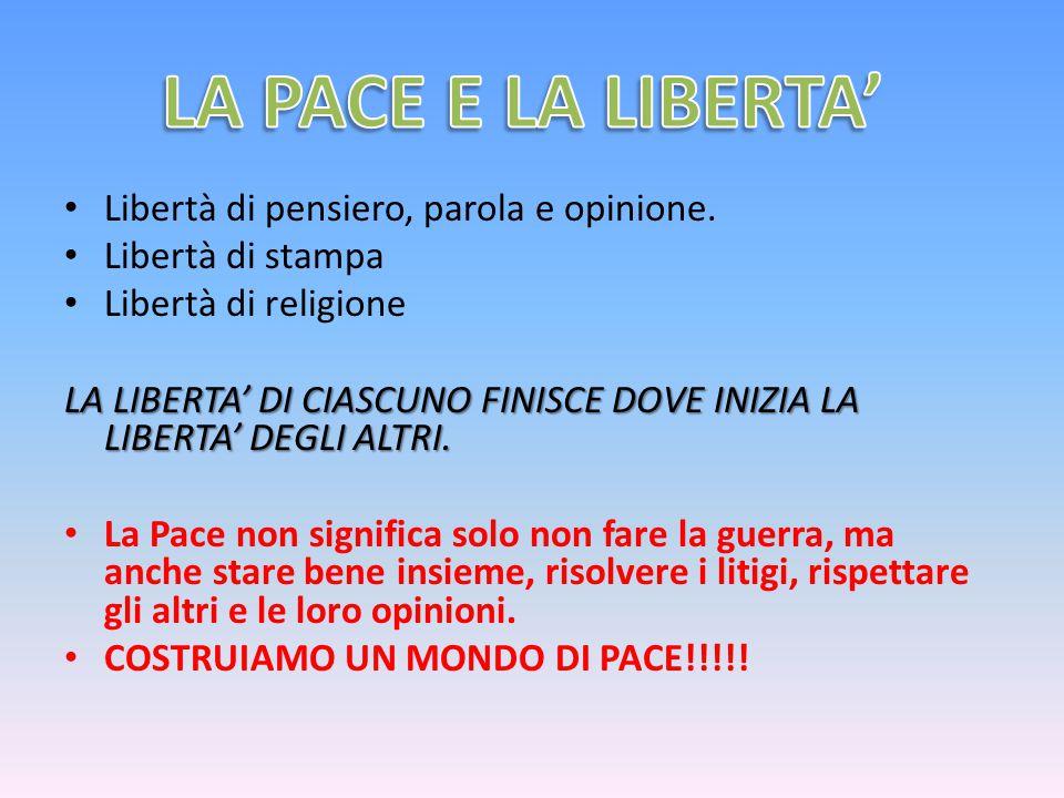 LA PACE E LA LIBERTA' Libertà di pensiero, parola e opinione.
