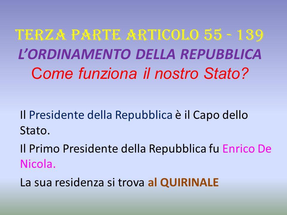 TERZA PARTE ARTICOLO 55 - 139 L'ORDINAMENTO DELLA REPUBBLICA Come funziona il nostro Stato