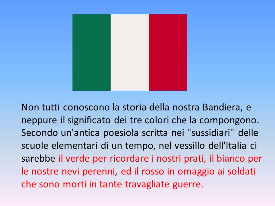 Non tutti conoscono la storia della nostra Bandiera, e neppure il significato dei tre colori che la compongono.