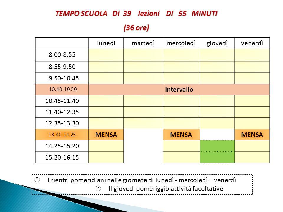 TEMPO SCUOLA DI 39 lezioni DI 55 MINUTI