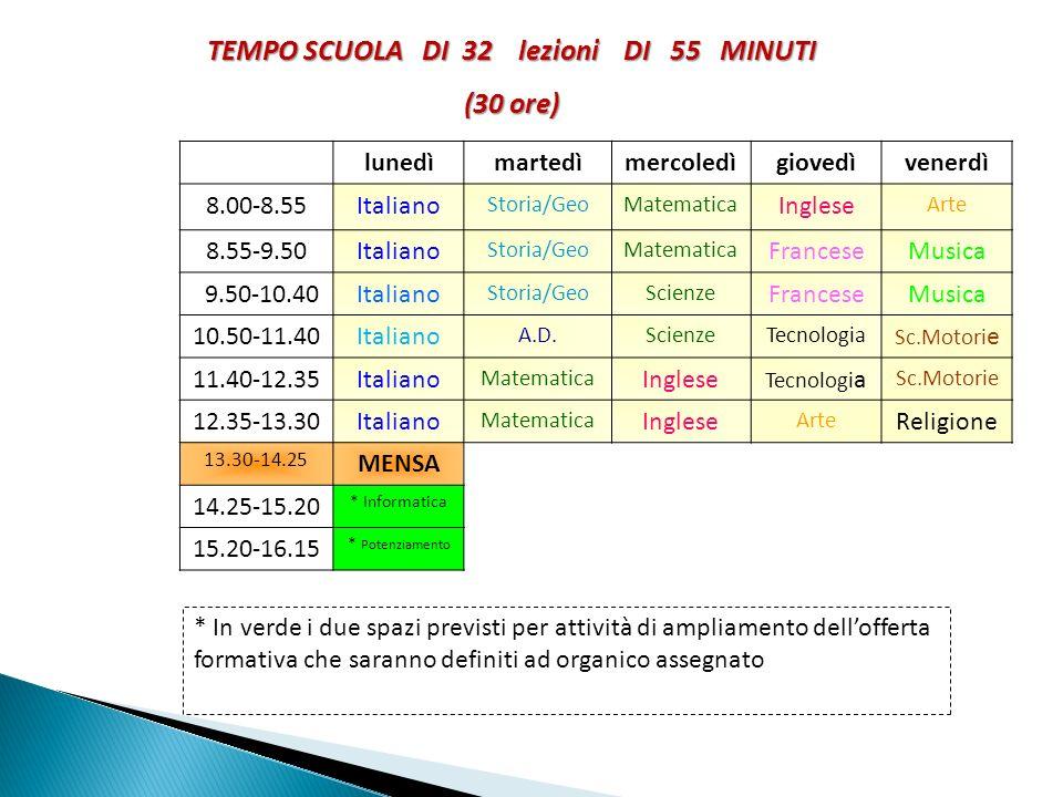 TEMPO SCUOLA DI 32 lezioni DI 55 MINUTI