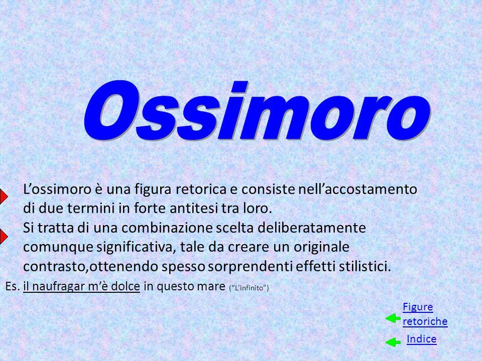 Ossimoro L'ossimoro è una figura retorica e consiste nell'accostamento