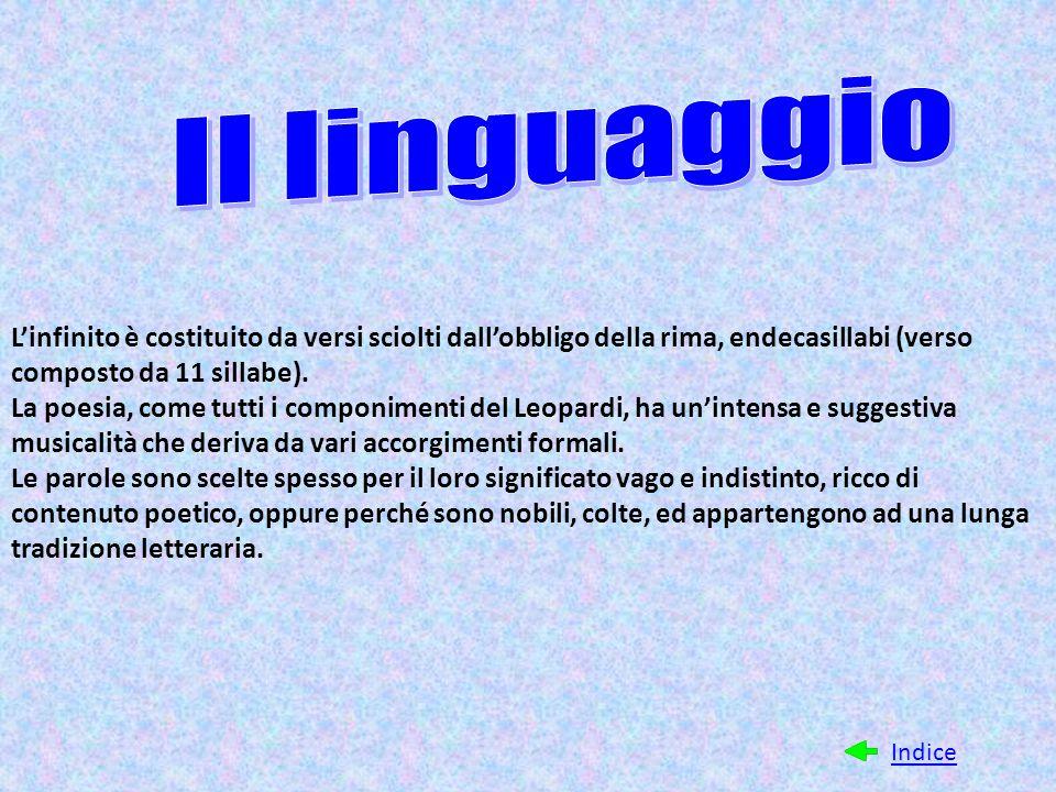 Il linguaggio L'infinito è costituito da versi sciolti dall'obbligo della rima, endecasillabi (verso composto da 11 sillabe).