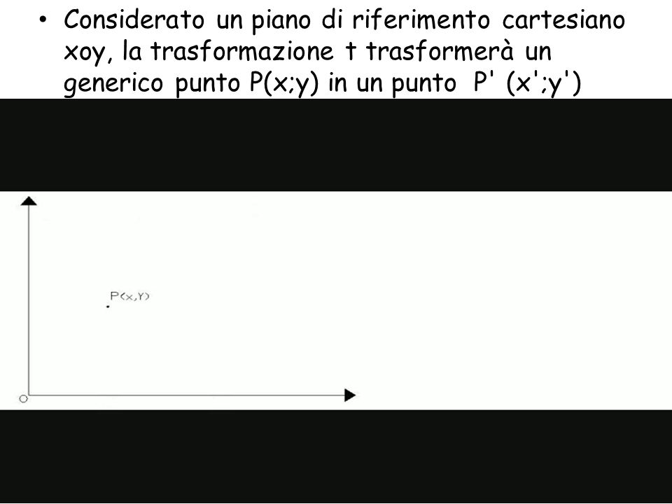 Considerato un piano di riferimento cartesiano xoy, la trasformazione t trasformerà un generico punto P(x;y) in un punto P (x ;y )