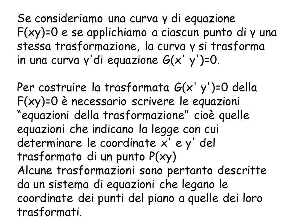 Se consideriamo una curva γ di equazione F(xy)=0 e se applichiamo a ciascun punto di γ una stessa trasformazione, la curva γ si trasforma in una curva γ di equazione G(x y )=0.