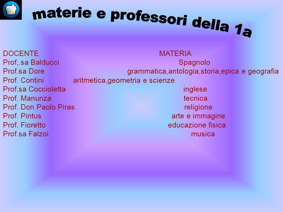 materie e professori della 1a