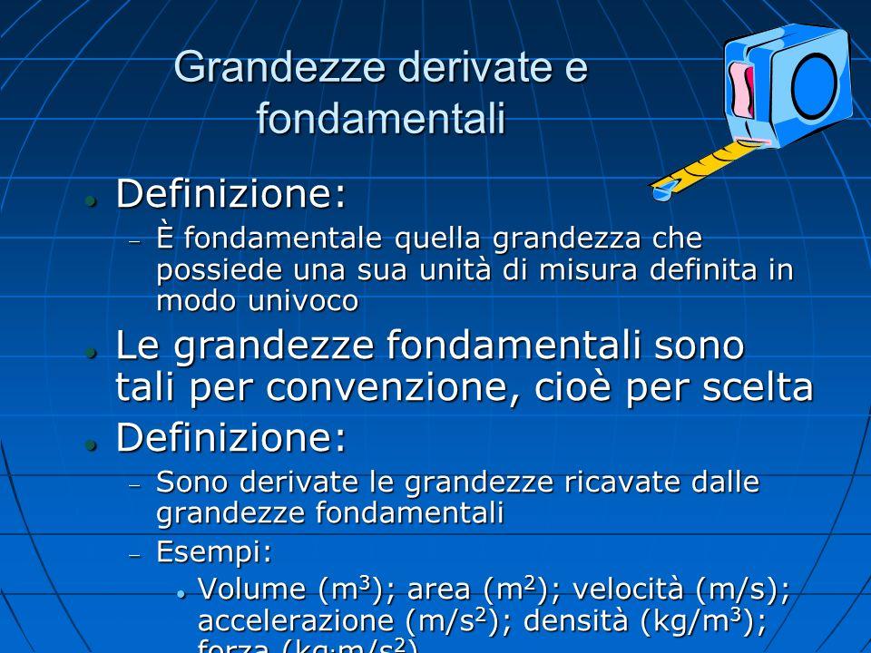 Grandezze derivate e fondamentali