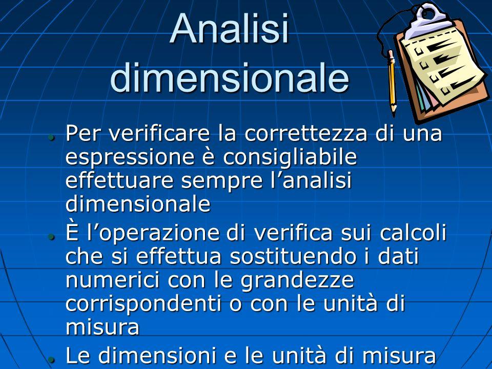 Analisi dimensionale Per verificare la correttezza di una espressione è consigliabile effettuare sempre l'analisi dimensionale.