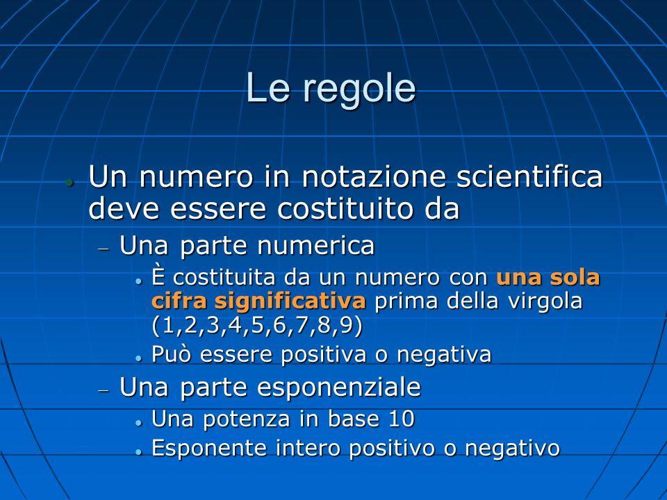 Le regole Un numero in notazione scientifica deve essere costituito da