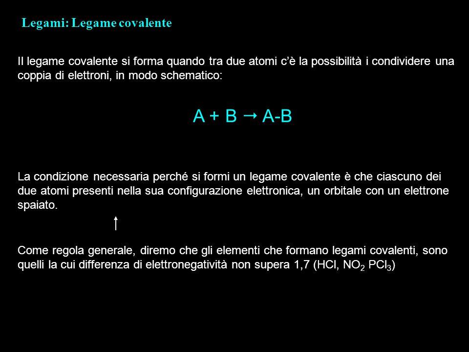 A + B  A-B Legami: Legame covalente