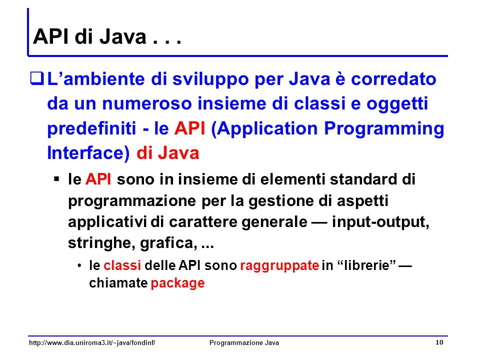 API di Java . . .