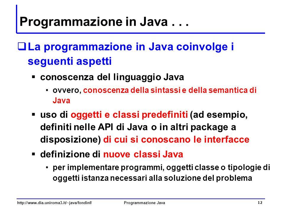 Programmazione in Java . . .