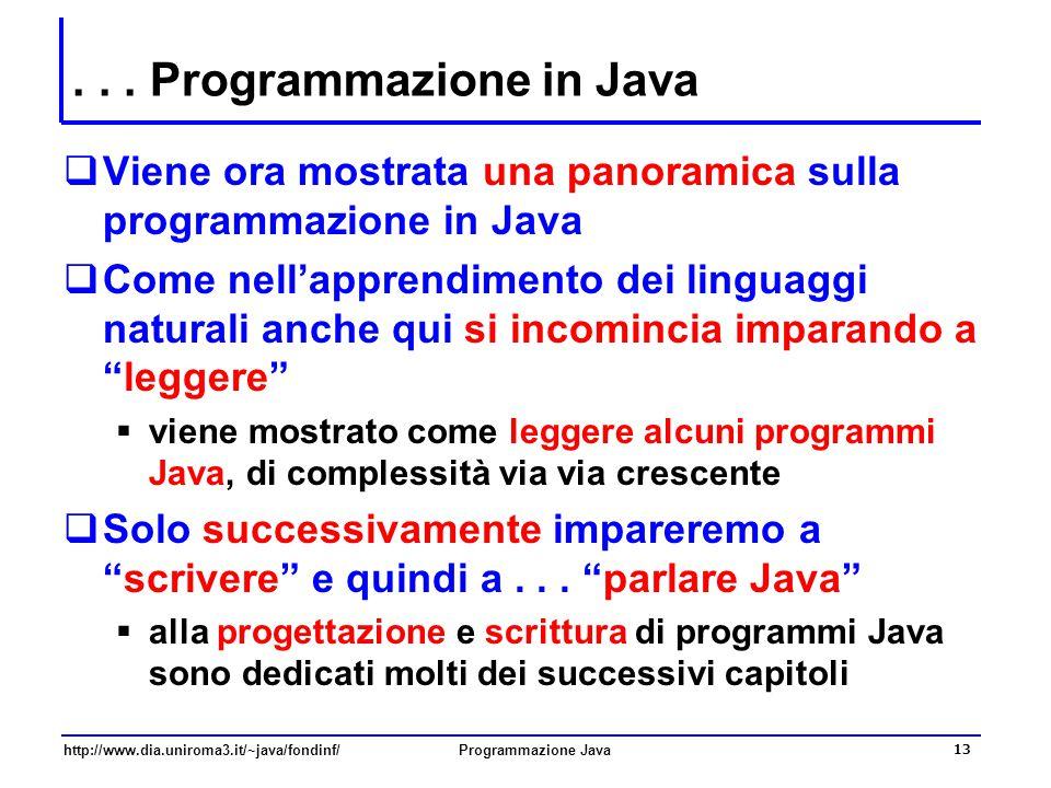. . . Programmazione in Java