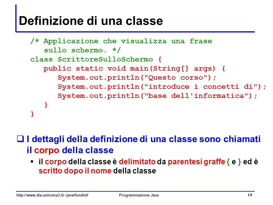 Definizione di una classe
