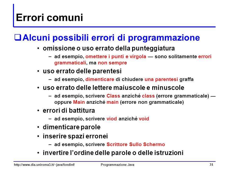 Errori comuni Alcuni possibili errori di programmazione
