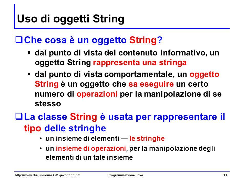 Uso di oggetti String Che cosa è un oggetto String