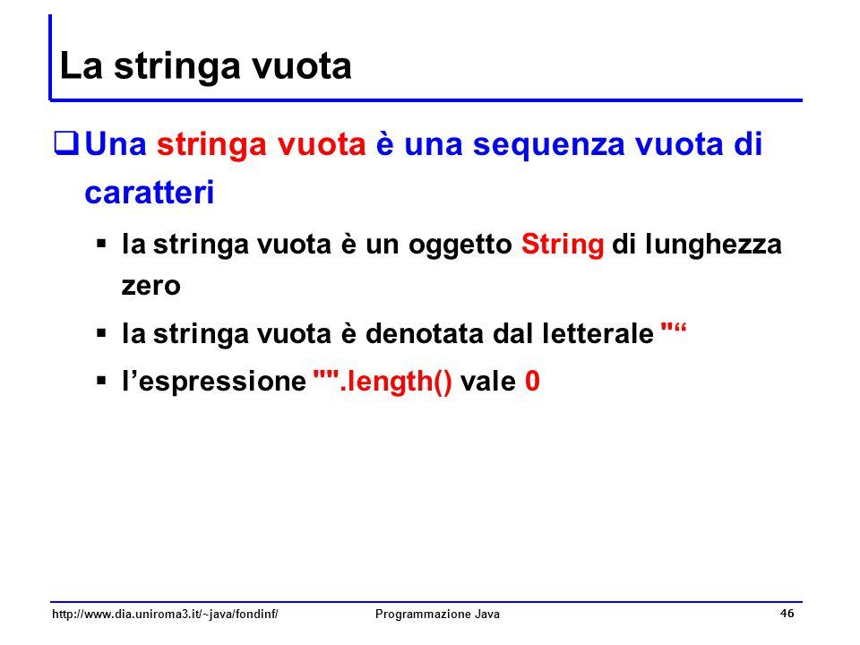 La stringa vuota Una stringa vuota è una sequenza vuota di caratteri