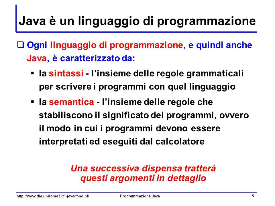 Java è un linguaggio di programmazione