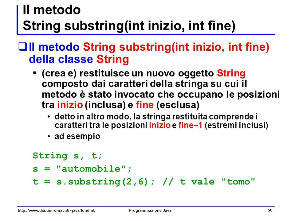 Il metodo String substring(int inizio, int fine)
