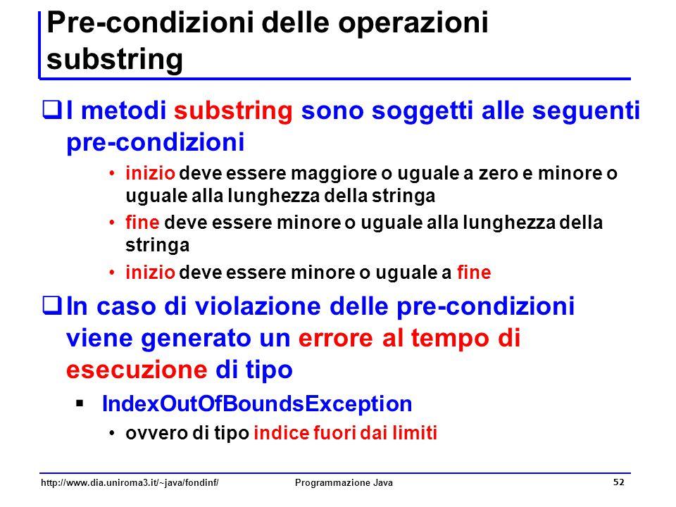 Pre-condizioni delle operazioni substring