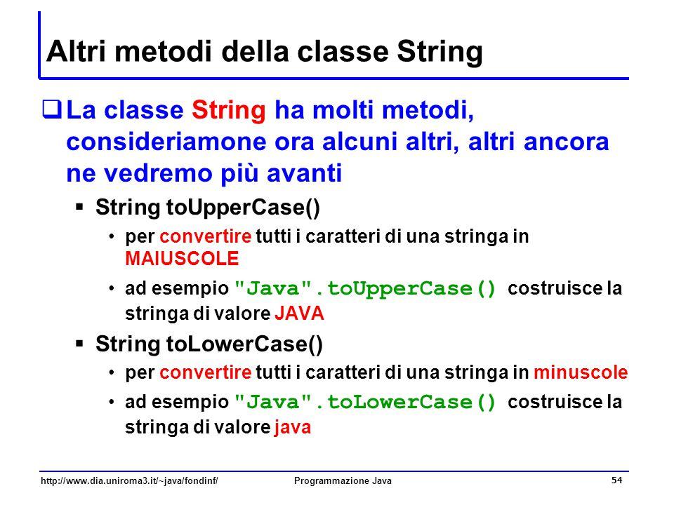 Altri metodi della classe String