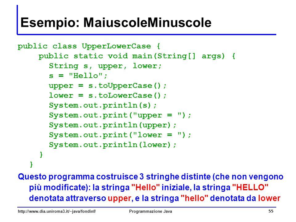 Esempio: MaiuscoleMinuscole