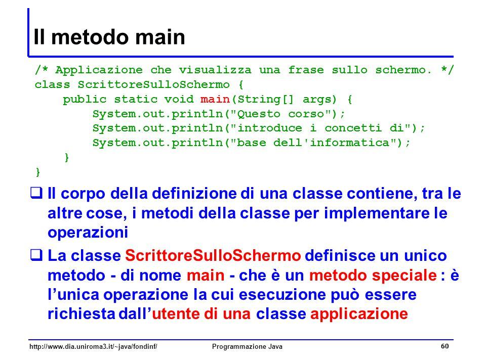 Il metodo main /* Applicazione che visualizza una frase sullo schermo. */ class ScrittoreSulloSchermo {
