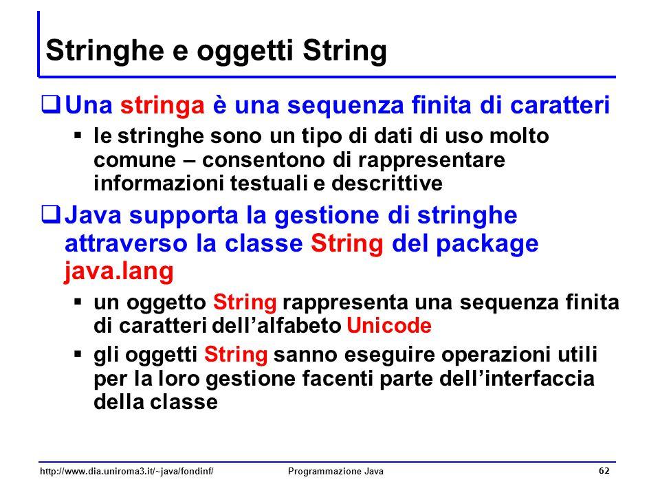 Stringhe e oggetti String