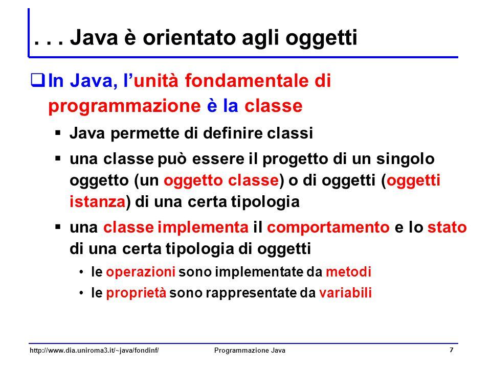 . . . Java è orientato agli oggetti