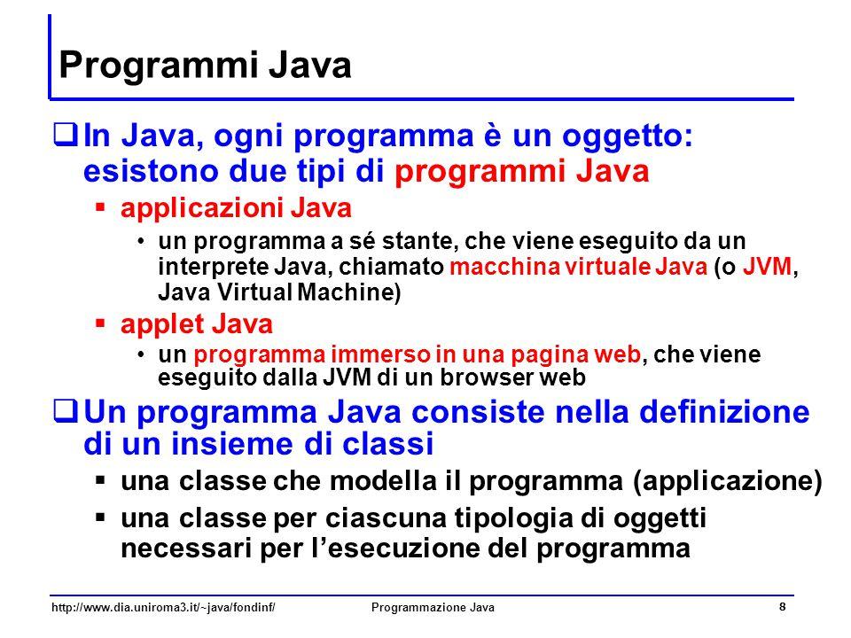 Programmi Java In Java, ogni programma è un oggetto: esistono due tipi di programmi Java. applicazioni Java.