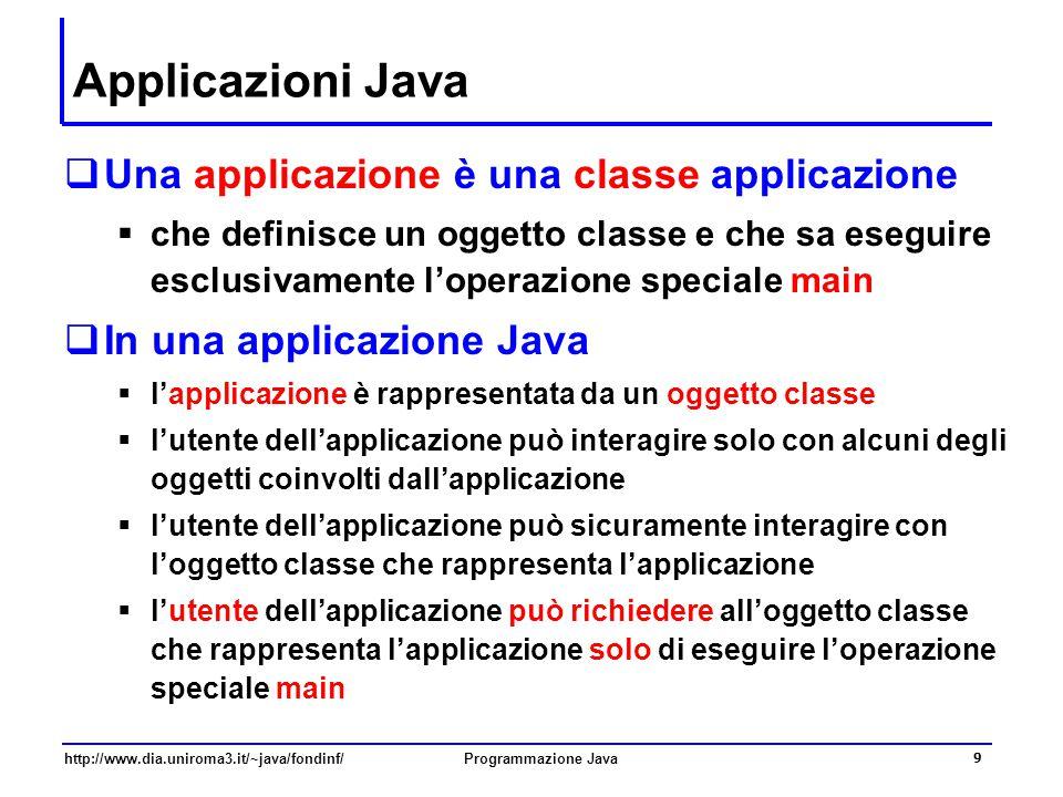 Applicazioni Java Una applicazione è una classe applicazione
