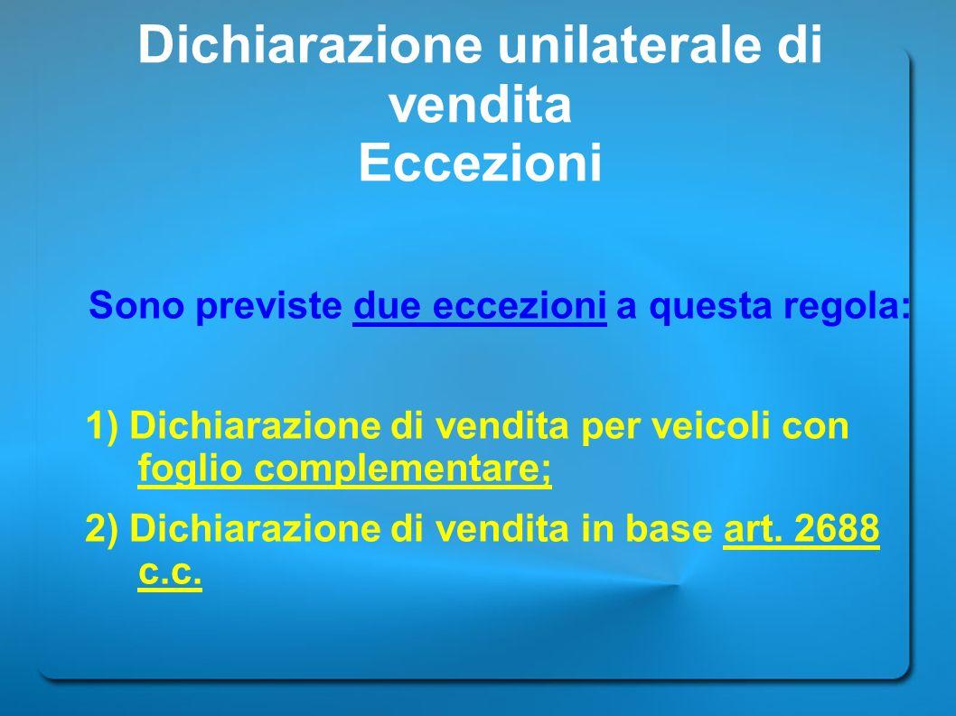 Dichiarazione unilaterale di vendita Eccezioni