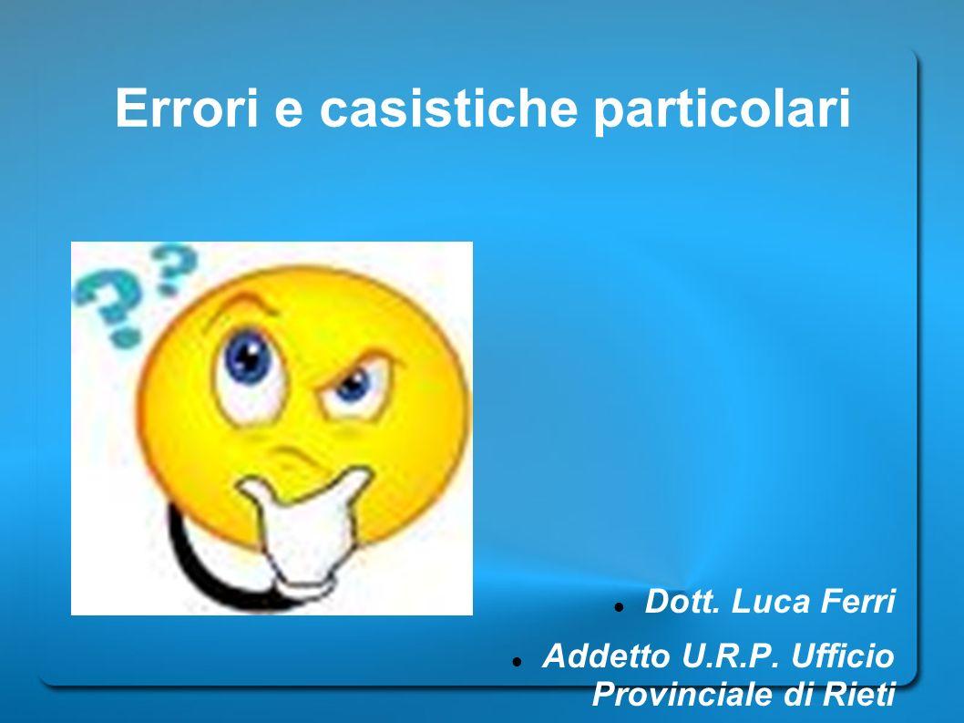 Errori e casistiche particolari
