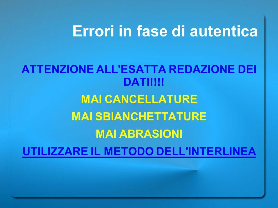 Errori in fase di autentica
